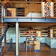 Southern_living_svatos_1_rect540 - Look at the striped walls in the kitchen - wood or wallpaper?  And against the pale blue cabinets....love this.