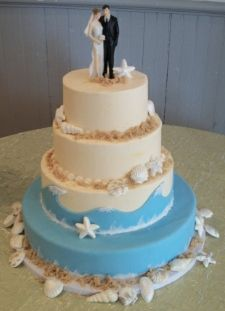 beach wedding cakes! maybe with some light shimmering glitter, it would be super cute too!