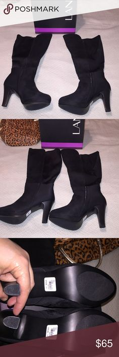 BNIB OVER MID- KNEE BOOTS SIZE 11W BLACK knee boots, wide calf, zippered entry, stacked heel with platform. Calf area stretch front is faux suede. Paid $80 never even tried on. Hurt my back and can't wear heels. Will throw in a free gift or 2 with purchase. Lane Bryant Shoes Over the Knee Boots