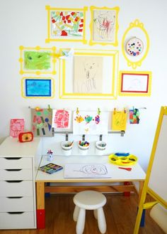 Love this children's art space! And, I recognize some IKEA stuff in there; we already have the wire hanger, and I'm pretty sure that's the desk we're planning on getting for Z's room.
