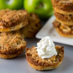 You've never tasted an apple pie recipe quite like this one before. If you love muffin tin recipes and making bite-sized treats, then you must whip up a batch of Mini Muffin Tin Apple Pies. Mini Desserts, Fall Desserts, Just Desserts, Delicious Desserts, Apple Desserts, Potluck Desserts, Thanksgiving Desserts, Christmas Desserts, Plated Desserts