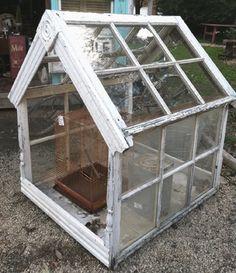 homemade greenhouse using old windows Homemade Greenhouse, Mini Greenhouse, Greenhouse Ideas, Garden Yard Ideas, Garden Projects, Farm Gardens, Outdoor Gardens, Old Windows, Westies