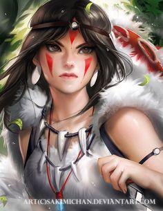 Pop Culture Art - Princess Mononoke by sakimichan Hayao Miyazaki, Got Anime, Anime W, Anime Chibi, Anime Quotes Tumblr, Mononoke Cosplay, Sakimichan Art, Anime Body, 3d Character