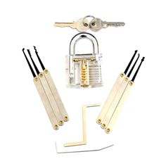 clear transparent practice lock picking tools for pcs hook lock pick set with transparent training padlock Smith Tools, Auto Locksmith, Lock Picking, Tool Set, Will Smith, Training, America, Doors, Work Outs