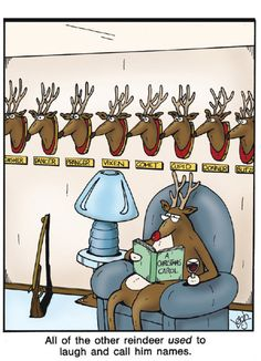 """All of the other reindeer *used* to laugh and call him names."" ~ The Far Side by Gary Larson Far Side Cartoons, Far Side Comics, Funny Cartoons, Funny Comics, Funny Memes, Hilarious, Funny Quotes, Adult Cartoons, Cartoon Cartoon"