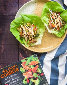 Try out this Lean Cuisine food hack for our Sweet Sriracha Braised Beef recipe. Put into a bib lettuce wrap, drizzle with sweet and sour sauce, and garnish with crushed cashews and bean sprouts for a wrap that packs a punch.