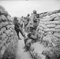 Senegalese soldiers in their trench. If NCOs of Colonial units were black, senior officers were always white. Prosnes sector, September 1916.