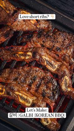 Korean Food Recipes, Best Beef Recipes, Rib Recipes, Barbecue Recipes, Grilling Recipes, Cooking Recipes, Korean Bbq, Korean Kimchi, Recipes