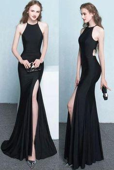black mermaid prom dress, simple prom dress,cheap prom