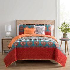 Bungalow Rose Irinna Reversible Quilt Set Size: Full/Queen: x Quilt, x Sta Ruffle Bedding, Quilt Bedding, Dorm Bedding, Bedspread, Bungalow, Shabby Chic Material, Orange Quilt, Contemporary Quilts, Modern Contemporary