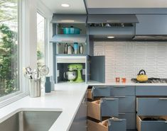 Architecture, Modern Kitchen Design Ideas Glass Window White Kitchen Countertop Stove Creative Space Efficient Drawer Grey Kitchen Cabinet C...