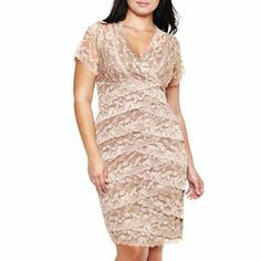 Lace Shutter-Pleat Dress - Plus - JCPenney