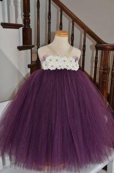 Elegant Eggplant Flower Girl Tutu Dress with by KatesClosetca. Purple tutu dress