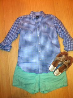 blue gingham oxford, green chino shorts