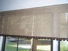 "Burlap Window Valance with Pom Fringe,  42"" W X 16""L, 'The DeSoto' at Burlap Country. $28.00, via Etsy."