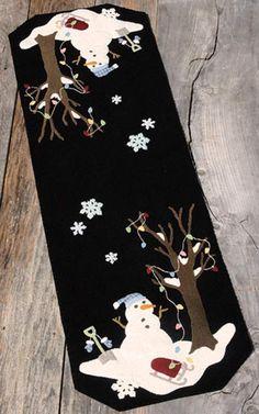 Silent Night Frosty Night Wool Applique Pattern