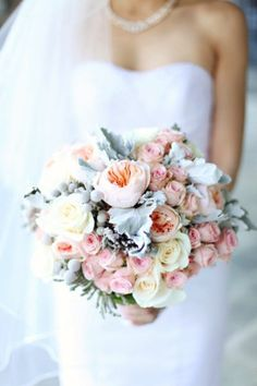 This mixed bouquet fit for a Fall/winter wedding are truly gorgeous. You can use the flowers in your bouquet to complement your wintery decor and seasonal surroundings. Bouquet Pastel, Peony Bouquet Wedding, White Wedding Bouquets, Bride Bouquets, Wedding Flowers, Blush Bouquet, Lavender Bouquet, Flower Bouquets, Bridesmaid Bouquet White