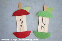 Popsicle Stick Apple Core - Kid Craft For Back To School SeasonThanks for this post.Back-to-school season is just around the corner and today I'm sharing another kid friendly activity that is SUPER simple for kids of all ages to p# ACTIVITIES Daycare Crafts, Classroom Crafts, Apple Activities, Art Activities, Popsicle Stick Crafts, Craft Stick Crafts, Craft Ideas, Popsicle Sticks, Craft Sticks
