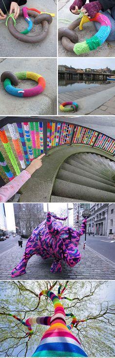 Massive yarn bombing in the city… @Veronica Goldner