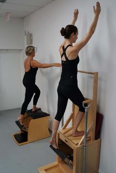 Stand to lunge with arms overhead--very challenging!
