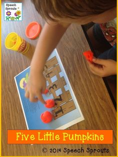 $ Five Little Pumpkins- 17 language activities for fun in the pumpkin patch with a Powerpoint story,  mini-book reader, dough mat and so much more.  Practice rhyme, counting, prepositions, phonological awareness, articulation with this fall favorite.