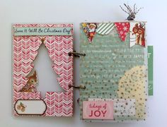 Mini Christmas album inside cover, love how the deer from front peeks into album from inside cover. October Afternoon ephemera pieces are 2 sided