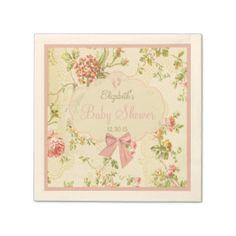 Vintage Floral Baby Shower Paper Napkin