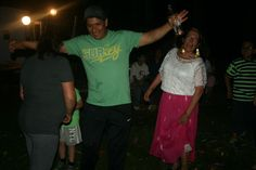 Dancing around the tree celebrating Peruvian Independence.