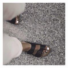 Birkenstocks + white nails