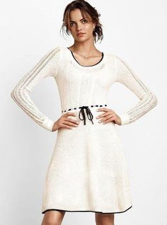 Women's #Fashion #Clothing: #Dresses: Victoria's Secret NEW! Mixed Knit #Sweater Dress in #White with Black Trim Detailing: Clothes