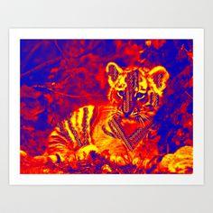 Aztec lion cub Art Print by Shanna Dunn - $15.60