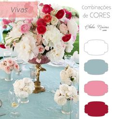 Combinação de Cores Vivas Para Decoração - Azul, Rosa, Vinho e Branco Clube Noivas