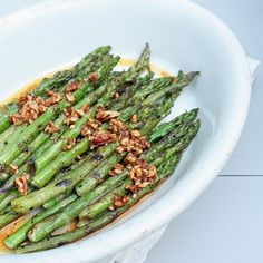 Grilled Asparagus w/Sriracha & Toasted Pecan Vinaigrette Shared on https://www.facebook.com/LowCarbZen