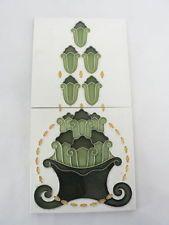 FS145- Jugendstil Fliese ( 2 STÜCK in Serie ) Fadenrelief Art Nouveau um 1900