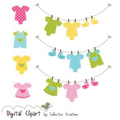 Baby Clothes Line & Onesies Clipart Set  by CollectiveCreation, $4.00