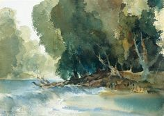 William Russell Flint - A Weir at the Drôme at Brantome