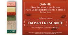 Cupom_EKOSREFRESCANTE  Nas compras acima R$150,00, ganhe Ekos Sabonete em Barra Puro Vegetal Refrescante Sortido utilizando o cupom EKOSREFRESCANTE. Cupom válido de 21 a 27/jun, execeto itens promocionados, presentes e AssiNatura. Limitado a mil utilizações e aplicável uma vez por CPF. Acesse Loja Online: http://rede.natura.net/espaco/naturacamis