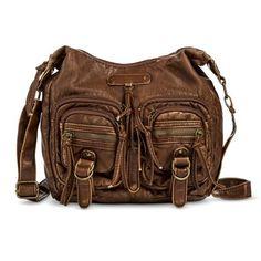 Women's Crossbody Hobo Handbag with Front Pockets - Cognac