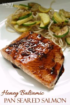 Honey Balsamic Pan Seared Salmon - More With Less Today - Healthy Pan Seared Salmon with Honey Balsamic Sauce - Honey Balsamic Reduction Recipe-healthy fish