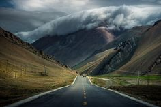 Thick clouds over the mountains of Tibet