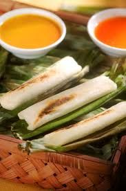 OTAK OTAK  Another famed fish cake from Palembang, otak-otak has a more charming appearance, since it's wrapped in banana leaves before being grilled over charcoal.    Indigenous Sumatrans eat it with red chili mixed with fermented soy sauce, but in Jakarta it is served with Java's ubiquitous peanut sauce.