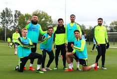 MANCHESTER, ENGLAND - MAY Manchester City players pose for a winning team photo during the training session at Manchester City Football Academy on May 2019 in Manchester, England. (Photo by Matt McNulty - Manchester City/Man City via Getty Images) Manchester England, Manchester City, Zen, Team Photos, Football Players, Training, Poses, Soccer Players, Coaching