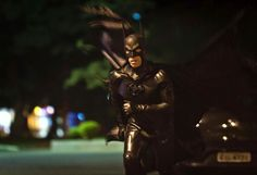 Retired Brazilian police officer Andre Luiz Pinheiro, 50, dressed as super-hero Batman, runs at Santa Terezinha square in Taubate city, Sao Paulo. Pinheiro has been called to help police patrol the crime-ridden streets of Taubate, in Brazil. He was officially presented on March 17 in the districts with the highest crime rates in Sao Paulo state. Police captain Warley Takeo said making a connection between the police and Batman would help children have a clearer idea of good and bad.