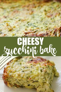Cheesy Zucchini Bake - a delicious recipe to use up the zucchini in your garden! An easy way to use up extra zucchini in this recipe for Cheesy Zucchini Bake. Side Dish Recipes, Veggie Recipes, Vegetarian Recipes, Cooking Recipes, Healthy Recipes, Shredded Zucchini Recipes, Easy Zucchini Recipes, Xmas Recipes, Healthy Chef