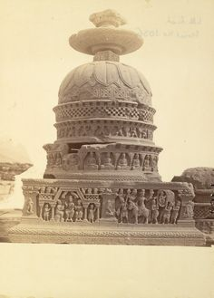 Small stupa from Loriyan Tangai, Peshawar District, photographed after restoration, on display in the Indian Museum, Calcutta 10031037