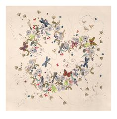 Love is Everywhere, 110cm x 110m. Free Machine Embroidery and Applique on Canvas