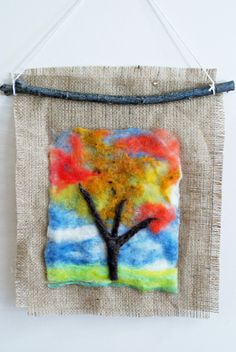 that artist woman: Felted Autumn Tree - tutorial for making a wet felted autumn tree
