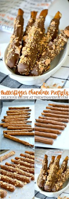 These Butterfinger Doubled Dipped Pretzels are amazing! This is one of our family favorite snacks! This recipe is so good, easy to make, and fun to eat! The butterfingers give the pretzels a delicious crunch while the cara Brownie Desserts, Oreo Dessert, Mini Desserts, Easy Desserts, Dipped Pretzel Rods, Chocolate Covered Pretzel Rods, Pretzel Thins, Chocolate Dipped Pretzels, Yummy Treats