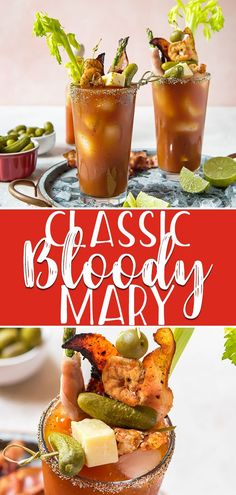 Whether you're brunching on a weekend or weekday, start it off with this Classic Bloody Mary recipe! Spiced tomato juice is combined with vodka and enough garnishes to make it a meal in itself! #crumbykitchen #bloodymary #brunch #brunchrecipes #brunchideas #cocktails #cocktailrecipes #cocktaildrinks #tomatorecipes #vodka #drinkrecipes