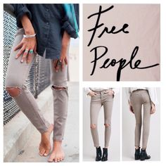 """Free People Destroyed Stretchy Skinny Jeans.  NWT. Free People Destroyed Mid Rise Stretchy Skinny Jeans, 53% cotton, 23% rayon, 22% polyester, 2% spandex, machine washable, 30"""" waist, 9.5"""" front rise, 14"""" back rise, 27.5"""" inseam, 12"""" leg opening, tonal stitching, rips at knee, brass tone hardware, five pockets, zip fly button closure, stretchy, fitted, belt loops, measurements are approx. No Trades. Free People Jeans Skinny"""